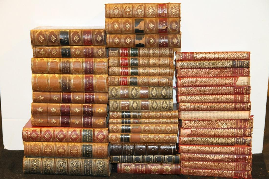 45 VOLUMES 19TH CENTURY FICTION AND POETRY BOOKS