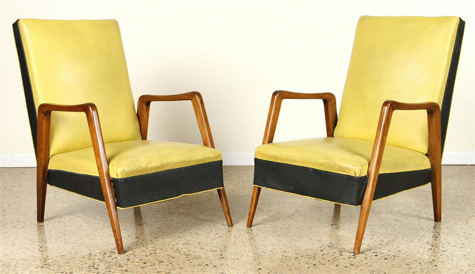 PAIR MID CENTURY MODERN FRENCH OPEN ARM CHAIRS