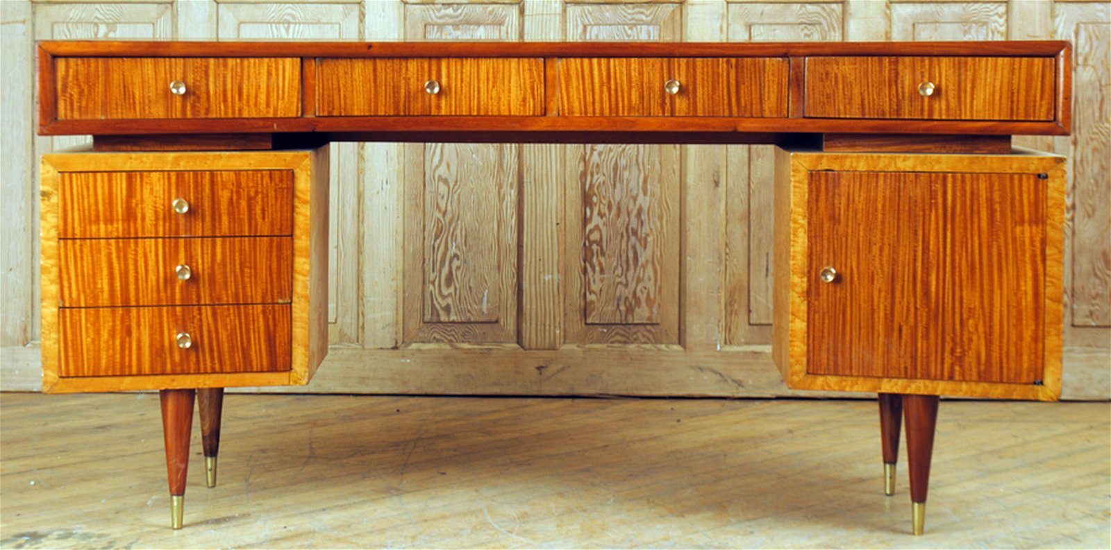 MID CENTURY MODERN MAHOGANY MAPLE CONSOLE TABLE