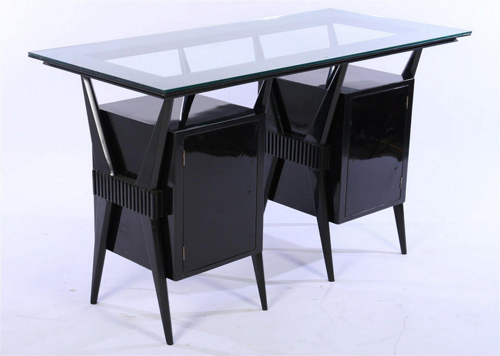 ITALIAN MID CENTURY EBONIZED CONSOLE TABLE 1960