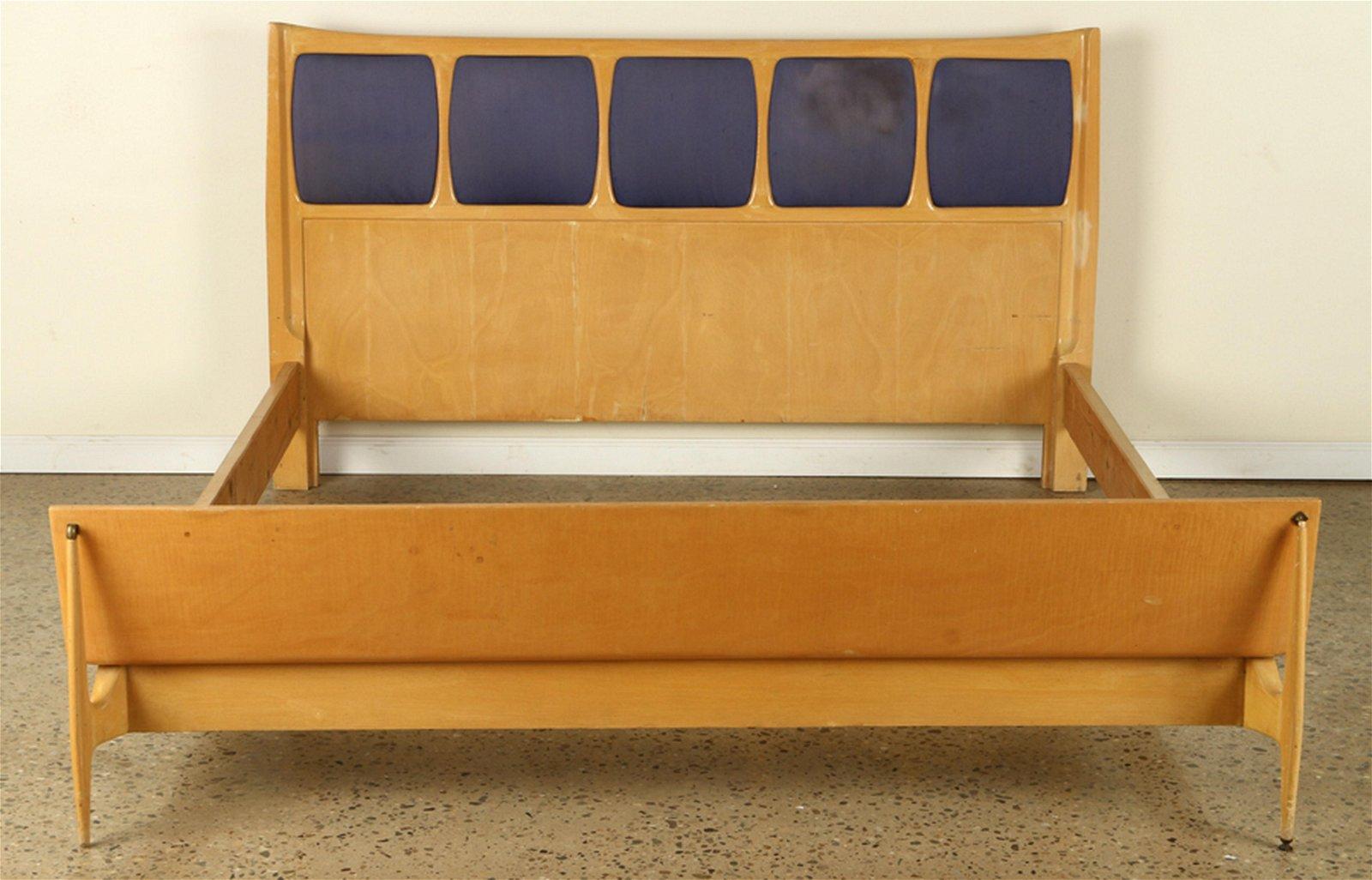MID CENTURY MODERN BLONDE MAPLE QUEEN SIZE BED