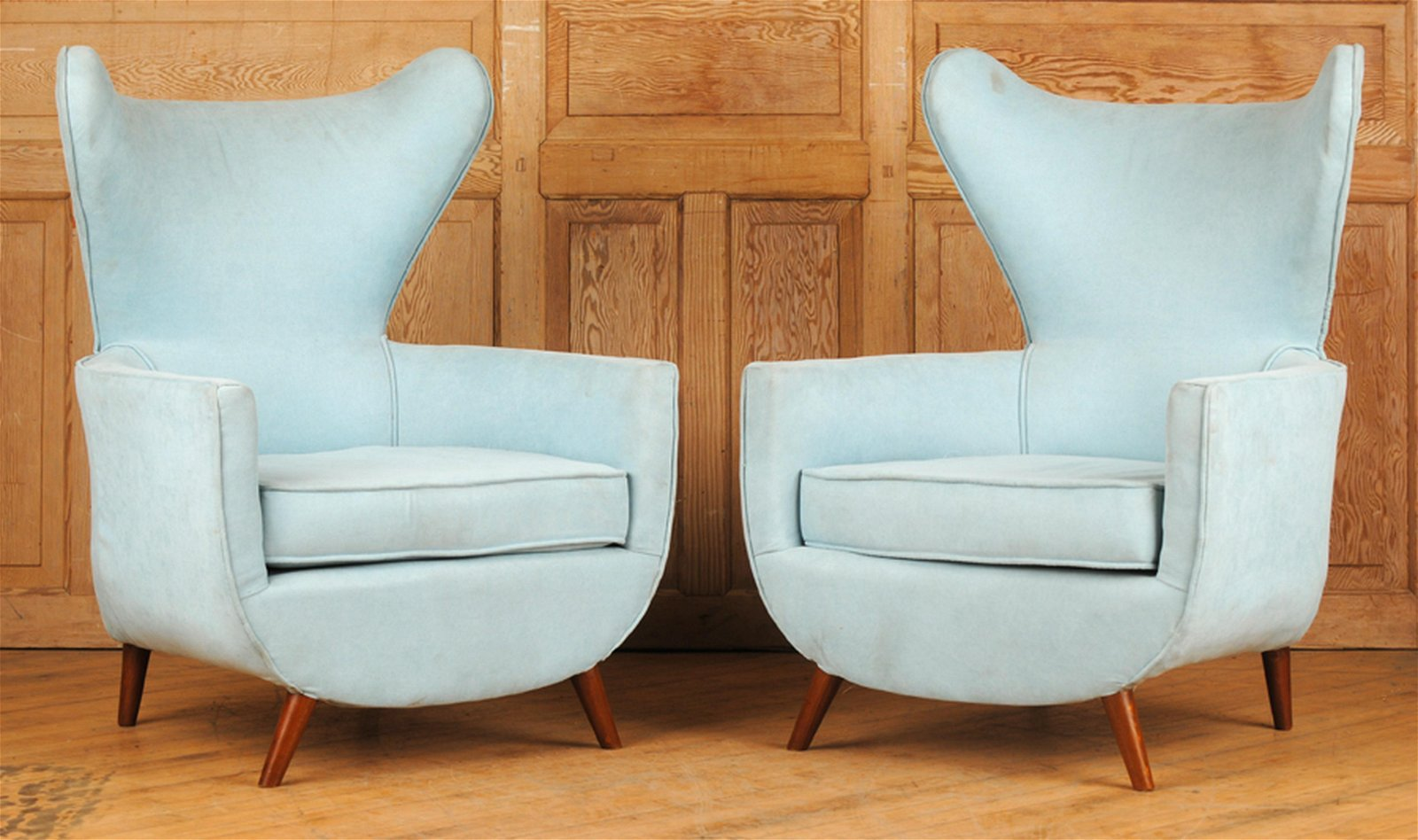 PAIR ITALIAN STYLE WING CHAIRS ON WOOD LEGS