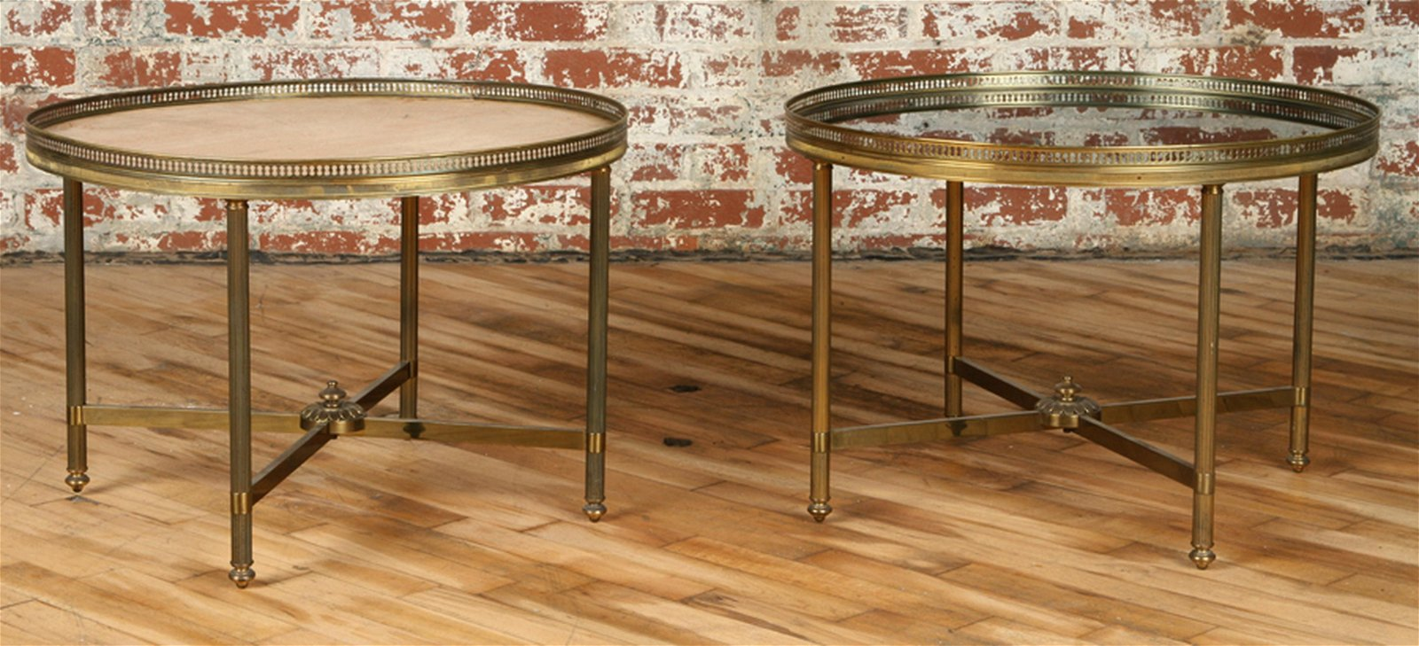 PAIR NEOCLASSICAL STYLE BRONZE END TABLES C.1950