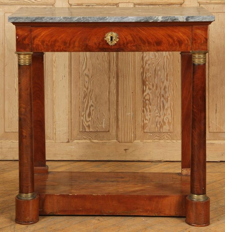 19TH C. MAHOGANY MARBLE TOP CONSOLE TABLE