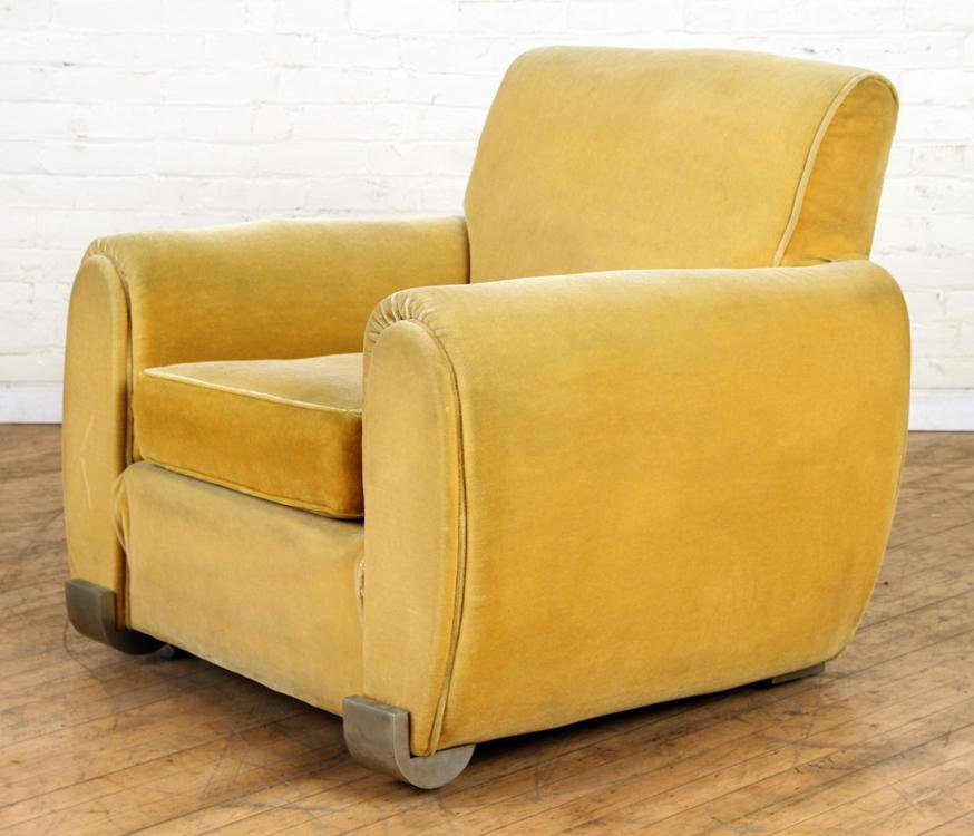 UPHOLSTERED ART DECO CLUB CHAIR CIRCA 1940