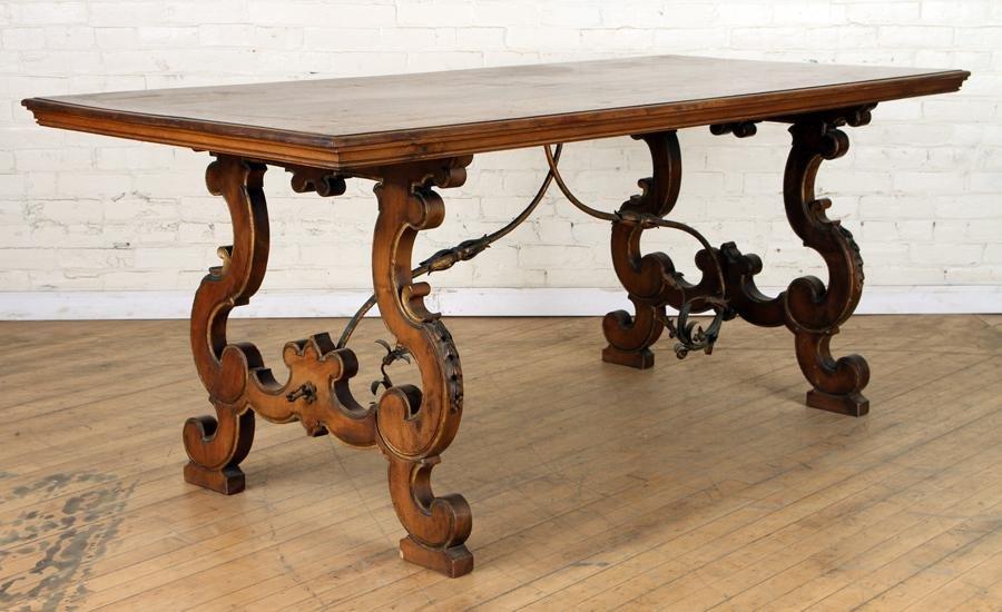 ITALIAN WALNUT TRESTLE TABLE IRON STRETCHER C1940