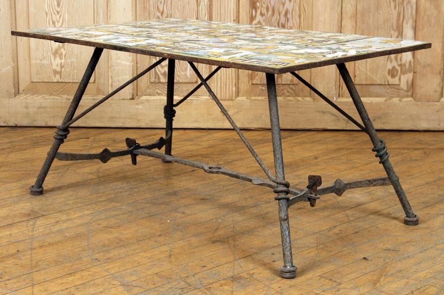 WROUGHT IRON AND TILE COFFEE TABLE CIRCA 1940
