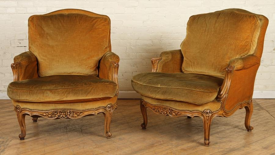 PAIR UPHOLSTERED LOUIS XV STYLE BERGERE CHAIRS