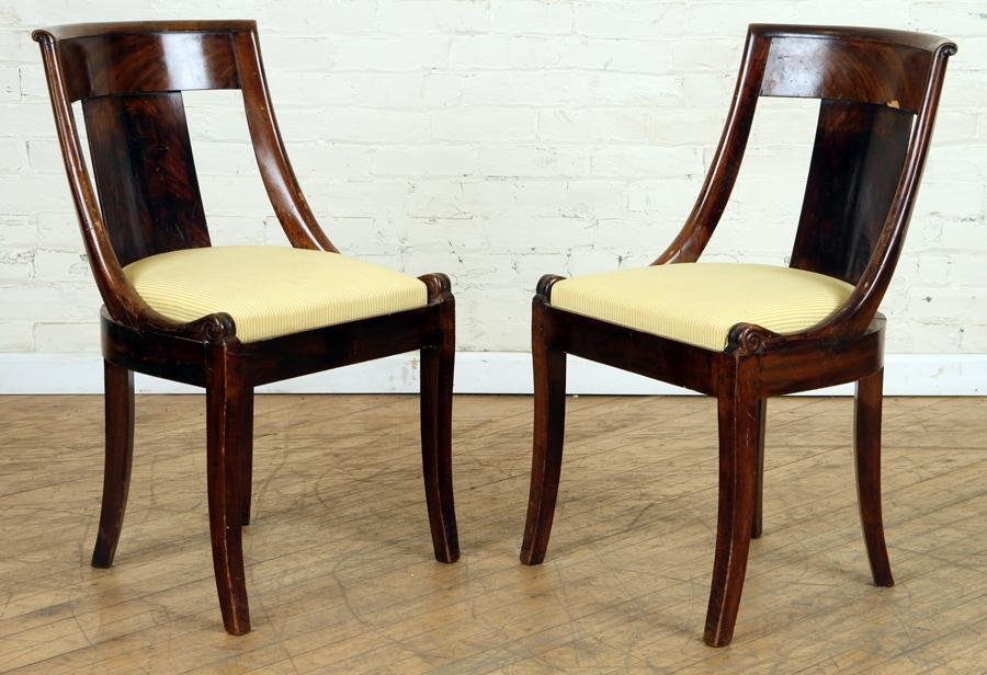 PAIR FRENCH CROTCH MAHOGANY SIDE CHAIRS C.1900