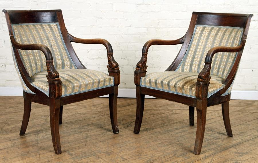 PAIR MAHOGANY DOLPHIN CARVED ARM CHAIRS C.1900