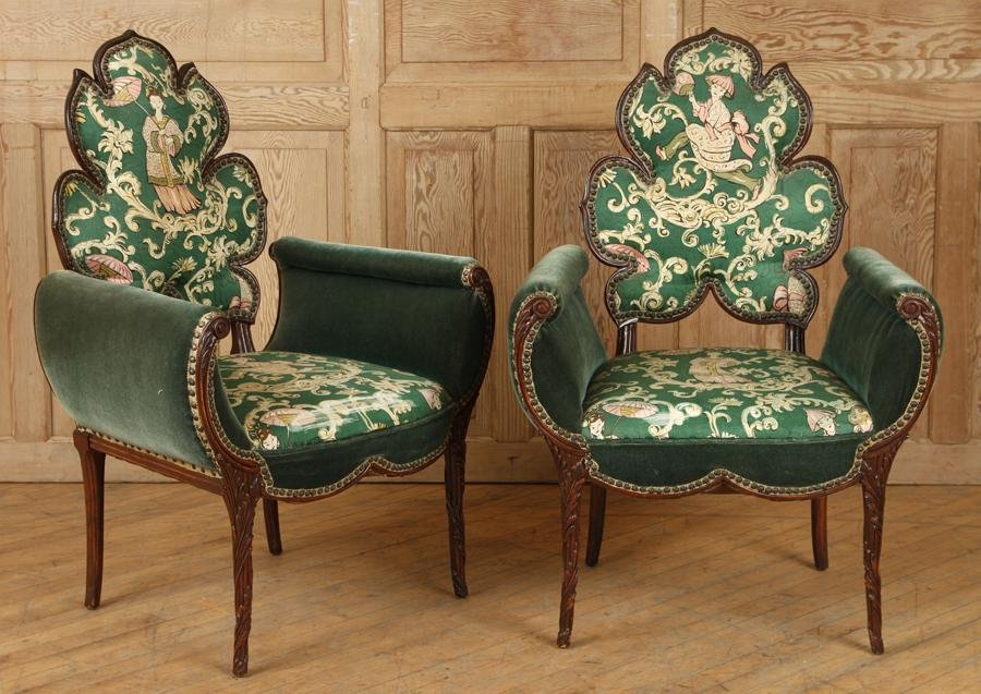 PAIR CHINESE CHIPPENDALE MAHOGANY CHAIRS C.1950