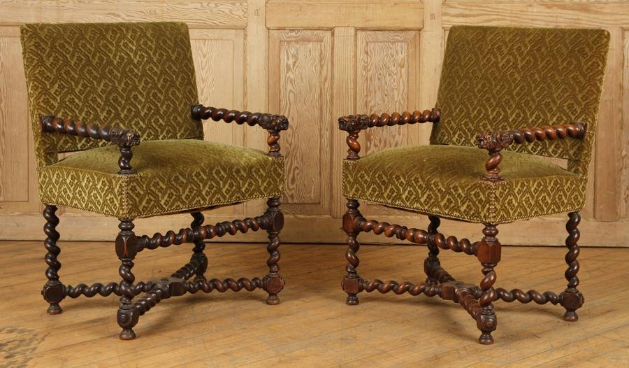 PAIR CARVED TURNED ARM CHAIRS CIRCA 1880