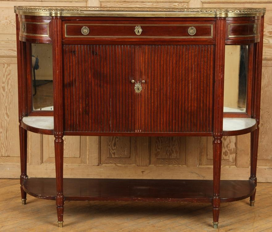 LATE 19TH CENT. FRENCH MAHOGANY MARBLE TOP SERVER
