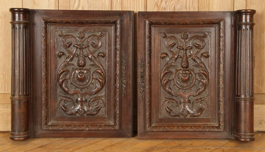 PAIR OF FRENCH CARVED WALNUT PANELS CIRCA 1900