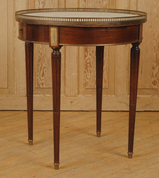 FRENCH LOUIS XVI STYLE BOULETTE TABLE MARBLE TOP