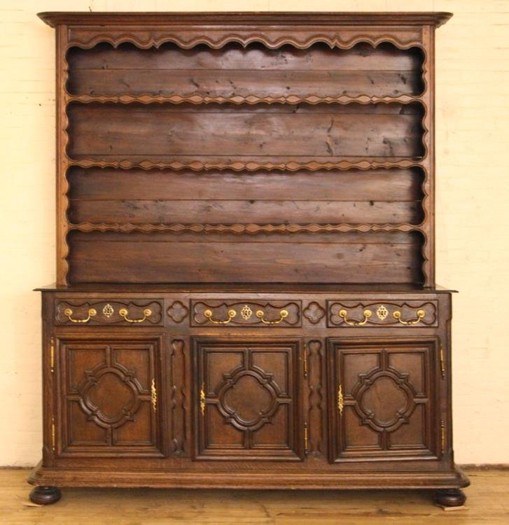 19TH C. FRENCH OAK BUFFET WITH PLATE RACK