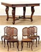 WALNUT LOUIS XV STYLE DINING TABLE & 6 CHAIRS