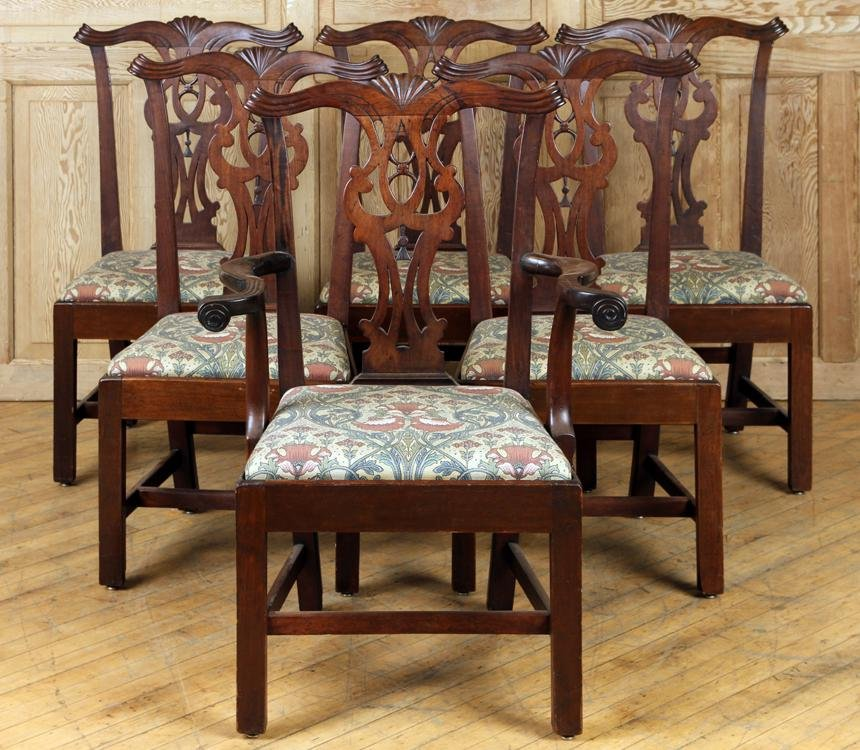 SET 6 CHIPPENDALE MAHOGANY DINING CHAIRS C.1800