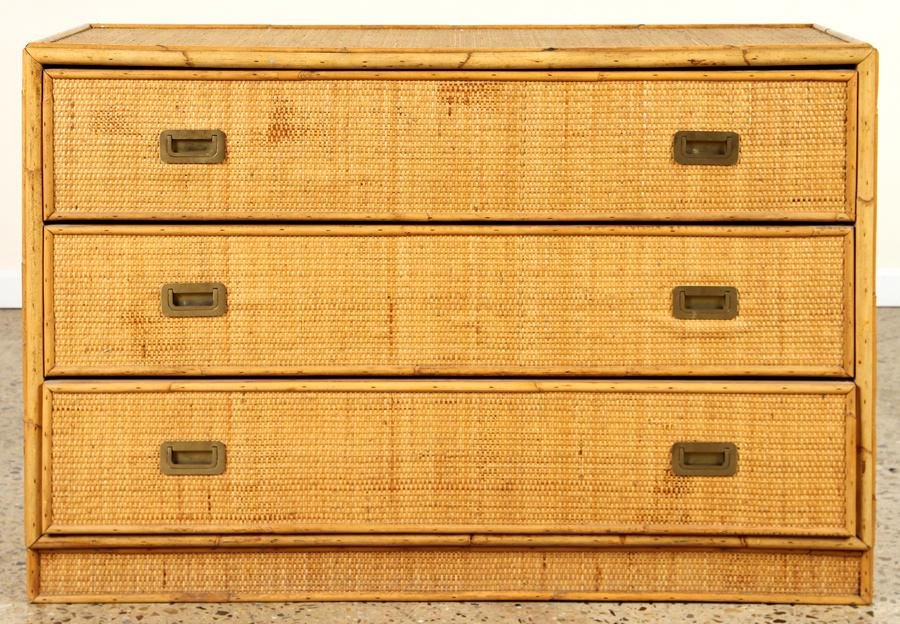 RATTAN DRESSER CAMPAIGN STYLE HARDWARE C.1970