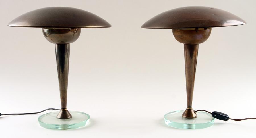 PAIR ITALIAN BRASS ONE LIGHT TABLE LAMPS