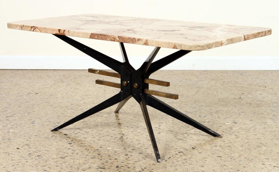 ITALIAN MARBLE TOP IRON COFFEE TABLE C.1960