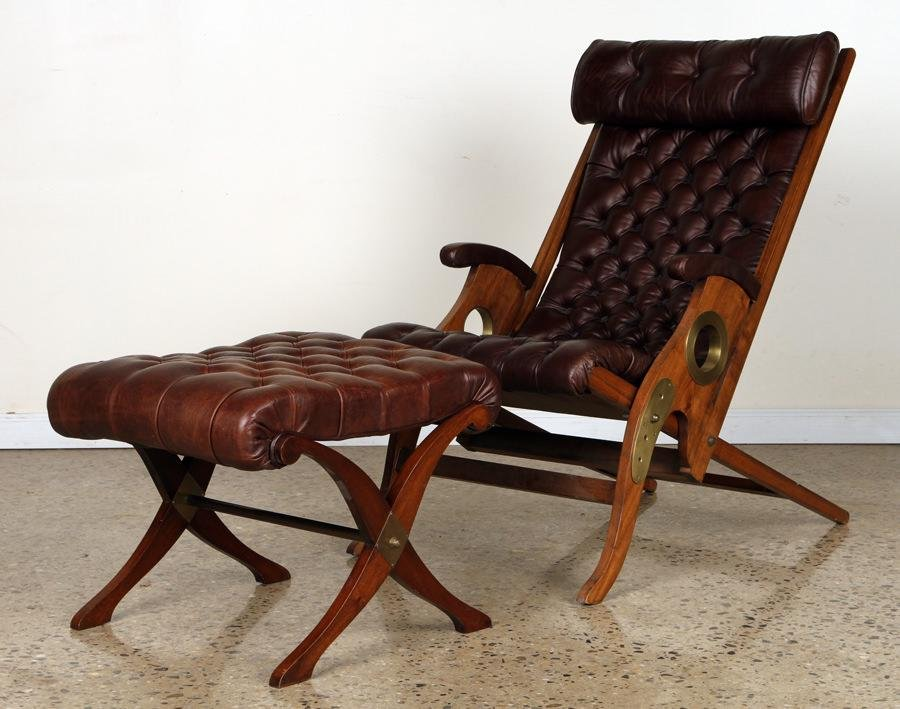 ADJUSTABLE LEATHER YACHT CHAIR AND STOOL C.1975