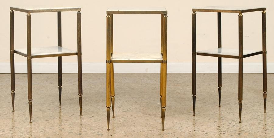 SET 4 FRENCH MARBLE TOP OCCASIONAL TABLES C.1950