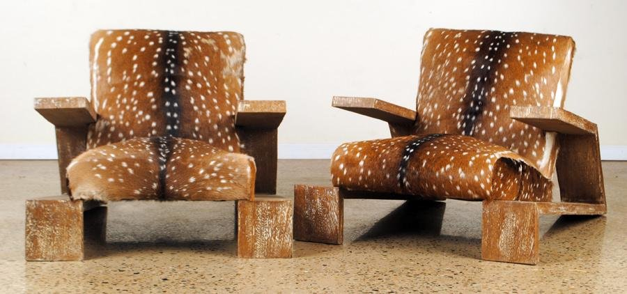 PAIR LOUNGE CHAIRS MANNER OF JEAN-MICHEL FRANK