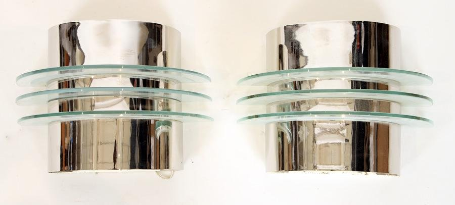 PAIR CHRHOME GLASS ART DECO STYLE WALL SCONCES