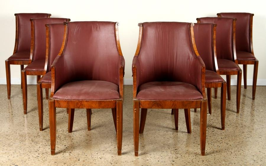 SET 8 FRENCH ROSEWOOD ART DECO DINING CHAIRS 1930