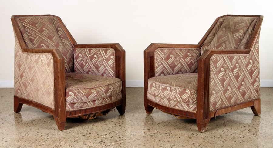 PAIR FRENCH WALNUT ART DECO CLUB CHAIRS C.1930