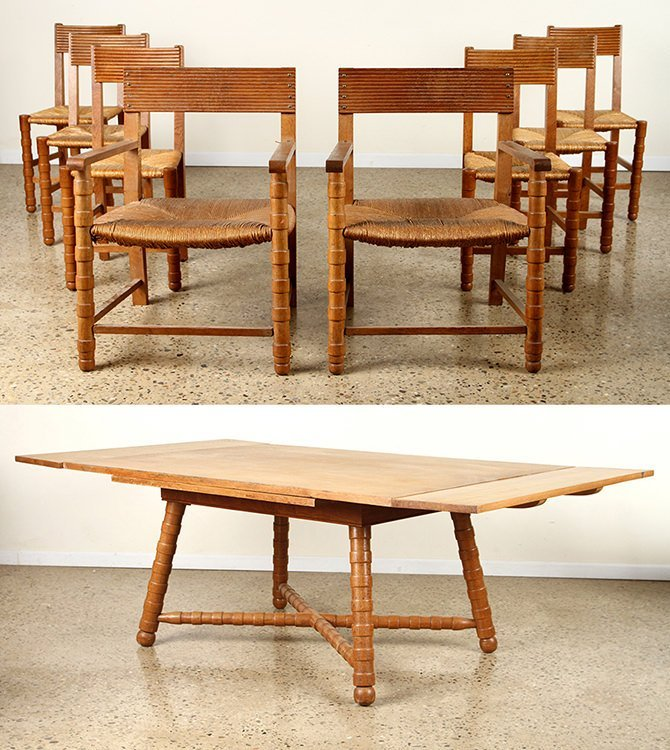 OAK DINING TABLE & 8 CHAIRS BY MAURICE DUFRENE