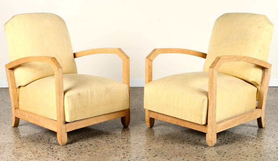 PAIR FRENCH SYCAMORE OPEN ARM CLUB CHAIRS C.1940