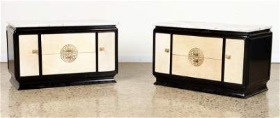 PAIR JAMES MONT STYLE MARBLE TOP END TABLES C1960