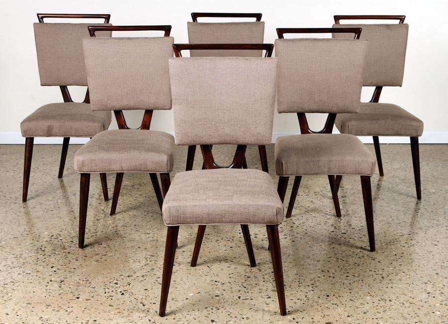 SET 6 MAHOGANY UPHOLSTERED DINING CHAIRS C.1960