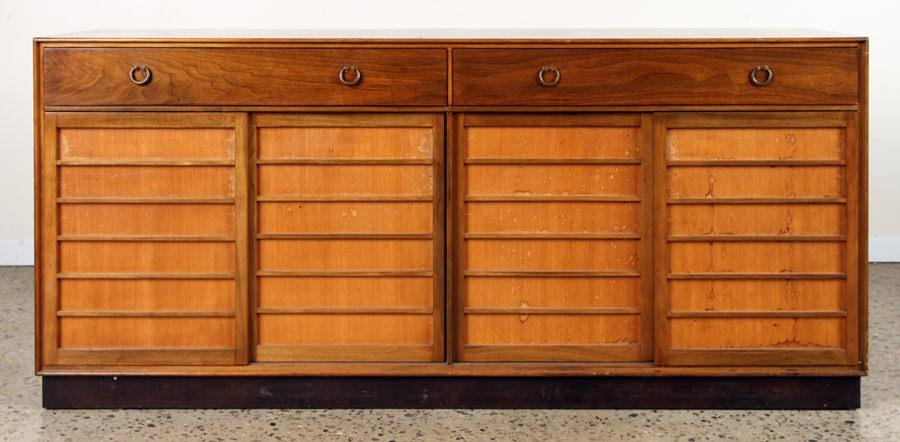 LABELED DUNBAR WALNUT CREDENZA CIRCA 1950
