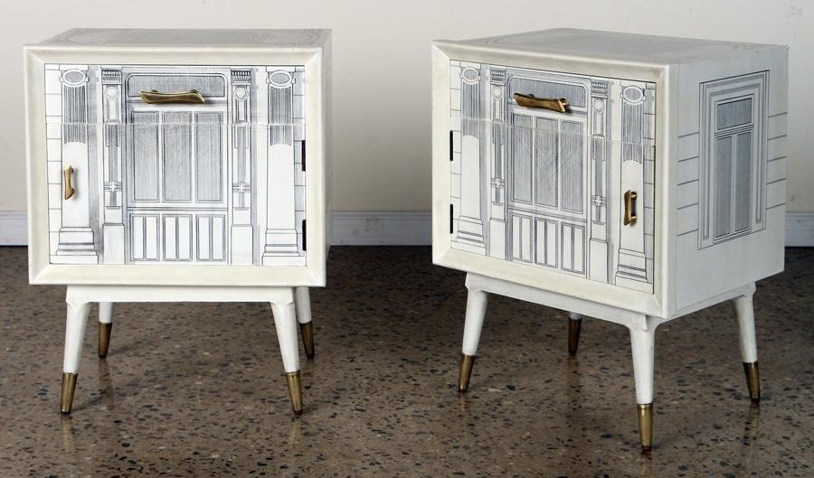 PAIR FORNASETTI STYLE ONE DRAWER NIGHT STANDS
