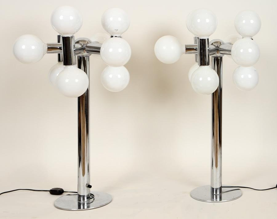 PAIR OF CHROME GLASS SIX ARM TABLE LAMPS C.1970