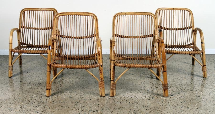 SET 4 ITALIAN BAMBOO OPEN ARM CHAIRS C.1960