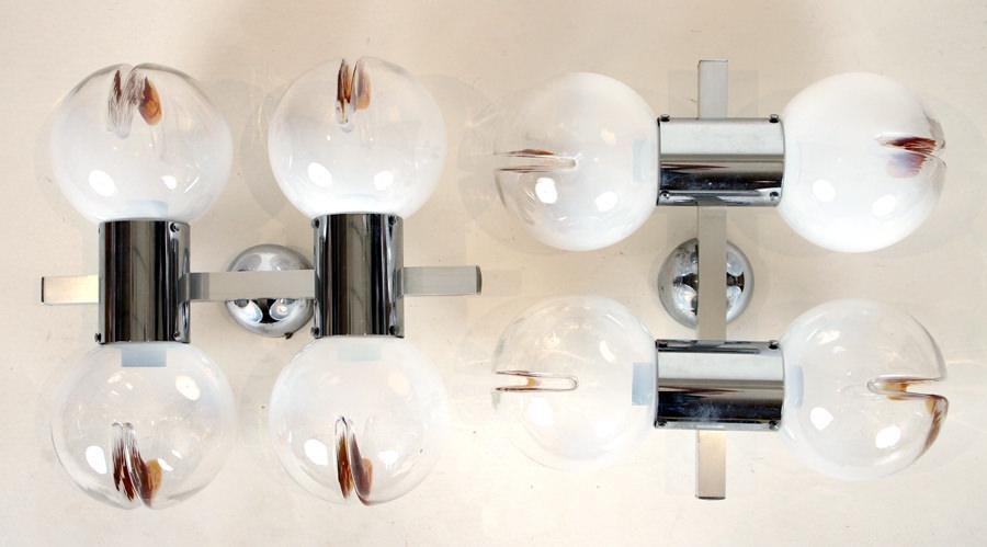 PAIR MAZZEGA CHROME GLASS SCONCES MURANO ITALY