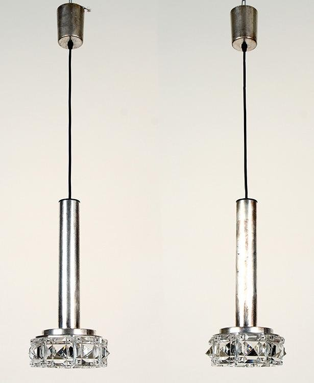 PAIR ITALIAN CHROME HANGING LIGHT FIXTURES C.1960