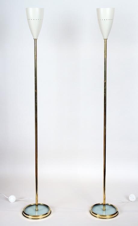 PAIR ITALIAN BRASS FLOOR LAMPS WHITE METAL SHADES