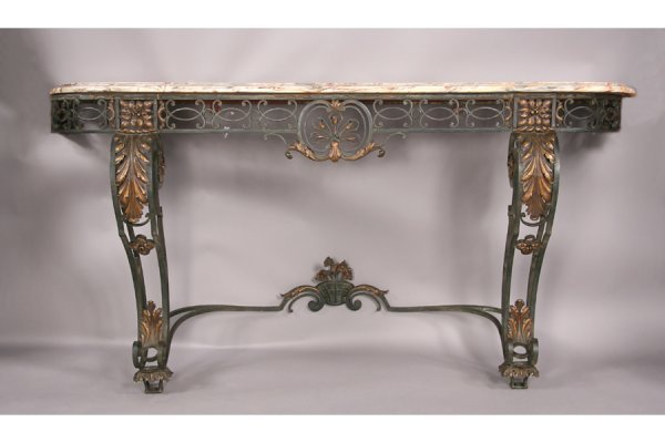 2: A very good antique wrought iron console table