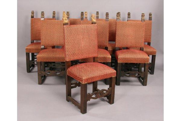 5: Set 8 Italian carved walnut gilt dining chairs