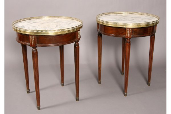 7: Pair French Louis XVI style end tables marble top