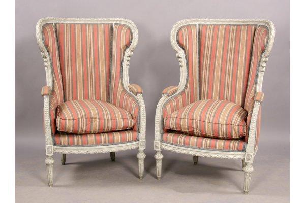 8: Pr Louis XVI  painted highback wing chairs bergeres
