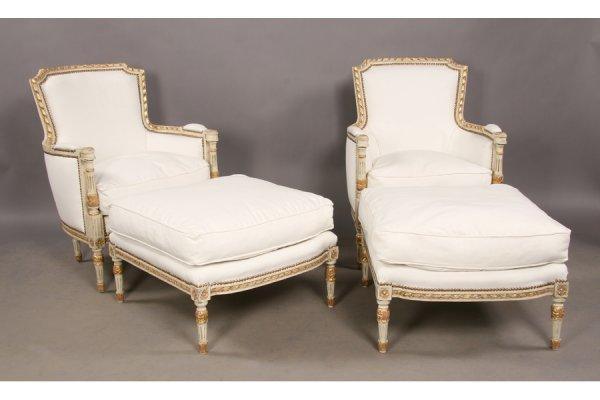 9: Pr painted giltwood Louis XVI  duchesse chaise w/