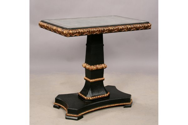14: Empire style ebonized giltwood mirrored table