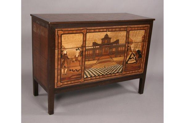 15: Italian 18th century style 3 drawer inlay commode