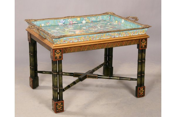16: Cloisonne' bronze mounted faux bamboo tray table